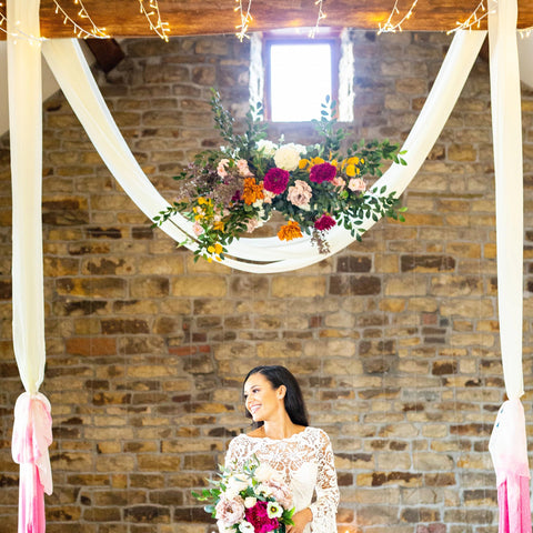 blossom barn artificial flowers backdrop barn wedding yorkshire vibrant colourful wedding bouquet silk faux blooms