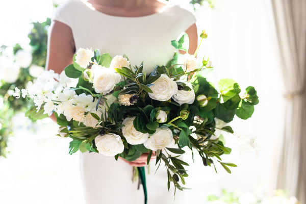 modern wedding flowers bouquet bridesmaids artificial flowers silk white and green