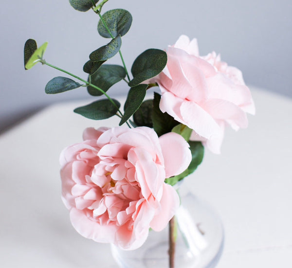 blush pink roses mini vase arrangement gift
