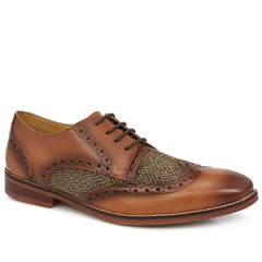Leather Brogue with Harris Tweed