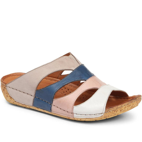 Leather Mule Wedge Sandal