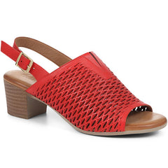 Red Block Heel Sandals