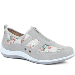 Grey Floral Print Trainers