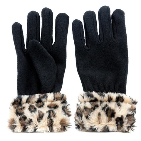 Fleece Gloves with Faux Fur Trim - FORD2201