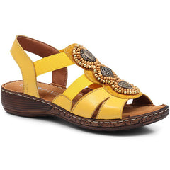 Yellow Ladies Flat Sandals