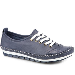Leather Lace-Up Shoe - Navy