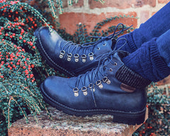 Navy Lace Up Ankle Boots
