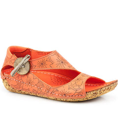 coral leather sandal