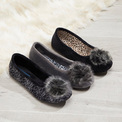 Ladies Pom Pom Slippers