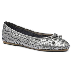 Pewter Leather Ballerina Flats