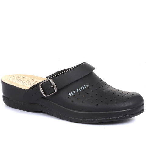 Black Wide Fit Coated Leather Anatomic Work Clog