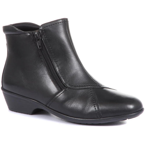Black Wider Fit, Dual Zip Fastening Leather Ankle Boot