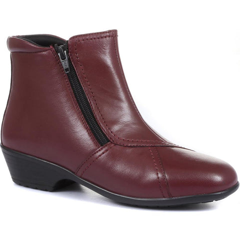 Wider Fit, Dual Zip Fastening Leather Ankle Boot - HSKEMP1811 / 146 311