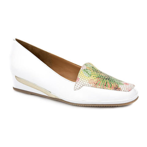 White Floral Leather Wedge Slip On