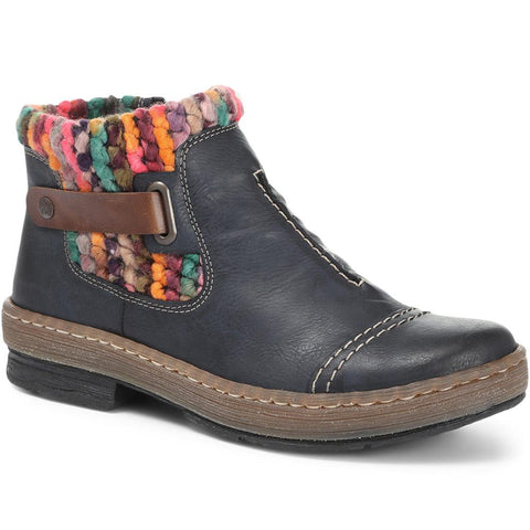 Blue Multi Casual Ankle Boot