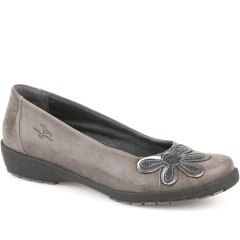 Grey Multi Anatomic Leather Pump with Flower