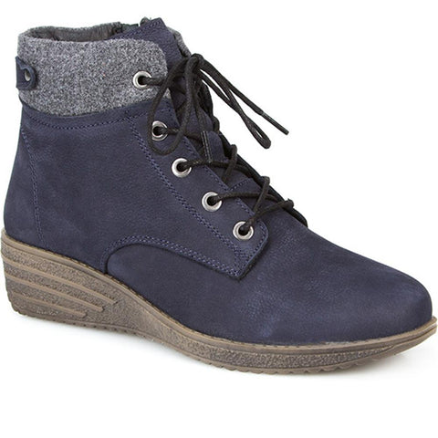 Navy Zip Up Ankle Boot