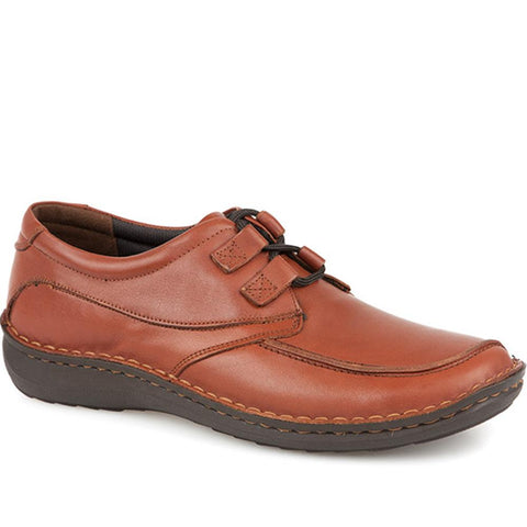 Tan Handmade Leather Shoe with Double Loop Lace
