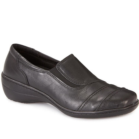 Black Leather Slip on with Elasticated Vents
