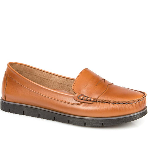 Tan Leather Slip On Loafer