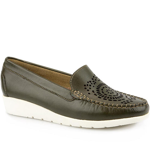 Green Ladies Leather Loafer.