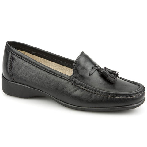 Black Leather Loafer with Tassel