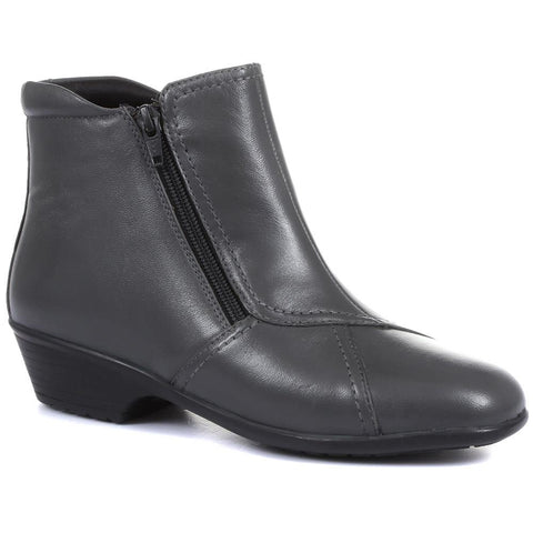 Wider Fit, Dual Zip Fastening Leather Ankle Boot - HSKEMP1811 / 146 311 Wider Fit, Dual Zip Fastening Leather Ankle Boot