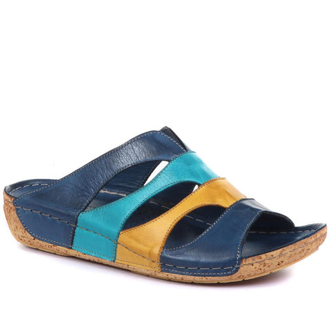 Blue Multi Leather Mule Wedge Sandal