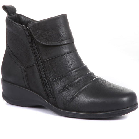 Dual Zip Leather Ankle Boot - KF30003 / 316 379