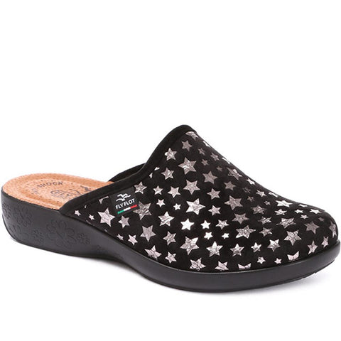 Black Anatomic Slipper Clog with Star Print