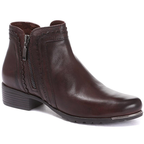 Cognac Leather Ankle Boot