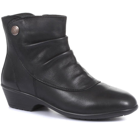Ruched Leather Ankle Boots - KF30004 / 316 380