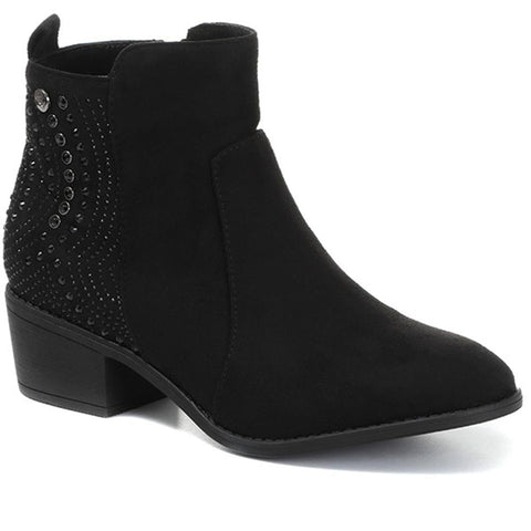 Black Embellished Ankle Boot