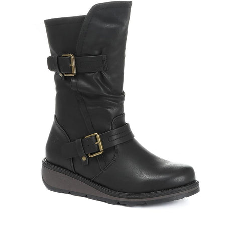 Vegan Friendly Double Buckle Mid-Calf Boot - HEAV30510 / 316 073