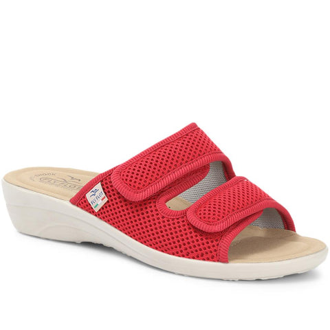 Red Touch-Fastening Anatomic Mule