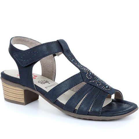 Navy Embellished Heeled Sandal