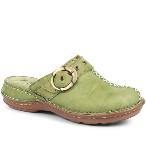 Green Lightweight Leather Clog