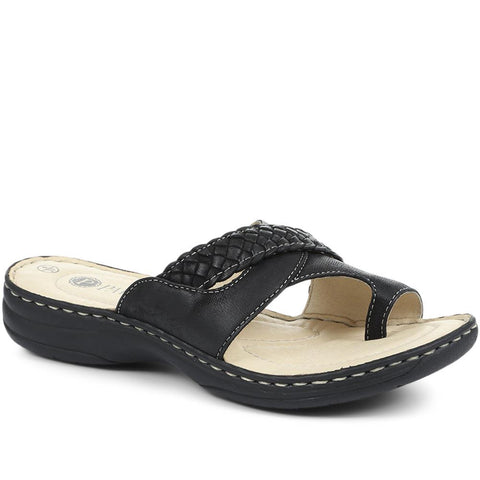 Wide Fit Leather Toe Post Sandals - KF31003 / 317 809