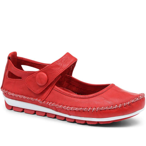 Red Leather Touch Fastening Mary Janes