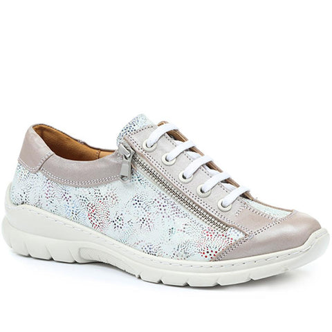 Wide Fit Lace-Up Leather Trainer - HAK31045 / 318 366