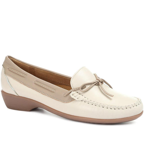 Beige Wide Fit Leather Loafers