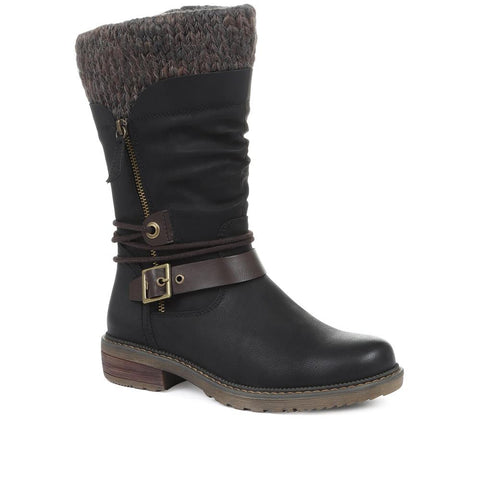 Black Ladies Mid Calf Boots