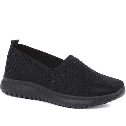Black Lightweight Slip-On Trainers