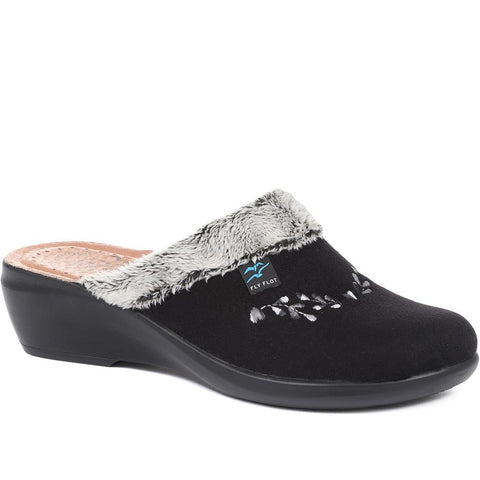 Black Wide Fit Ladies Slippers