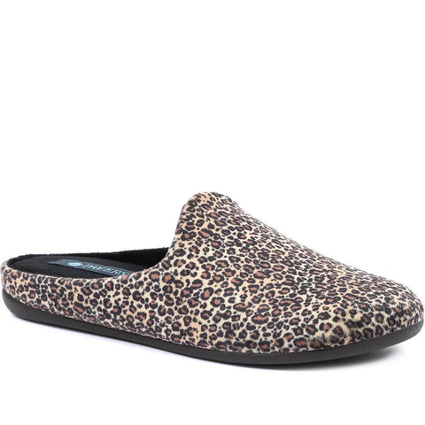 Brown Leopard Ladies Mule Slippers