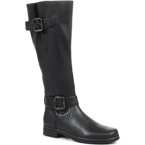 Black Leather Nevada Knee High Boots with Adjustable Calf