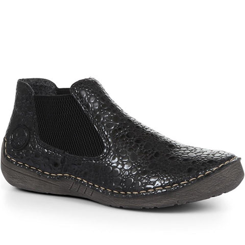 Black Crackle Chelsea Boots for Women