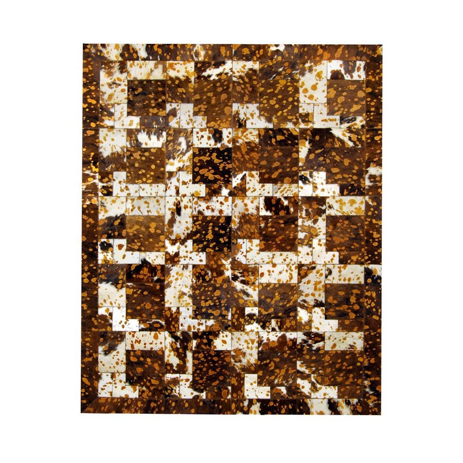 Cowhide Rug Tricolore Cuoio Puzzle
