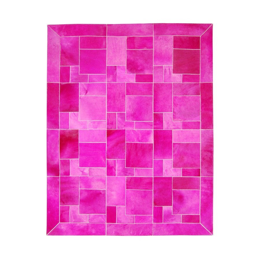 Cowhide Rug Fuxia Puzzle