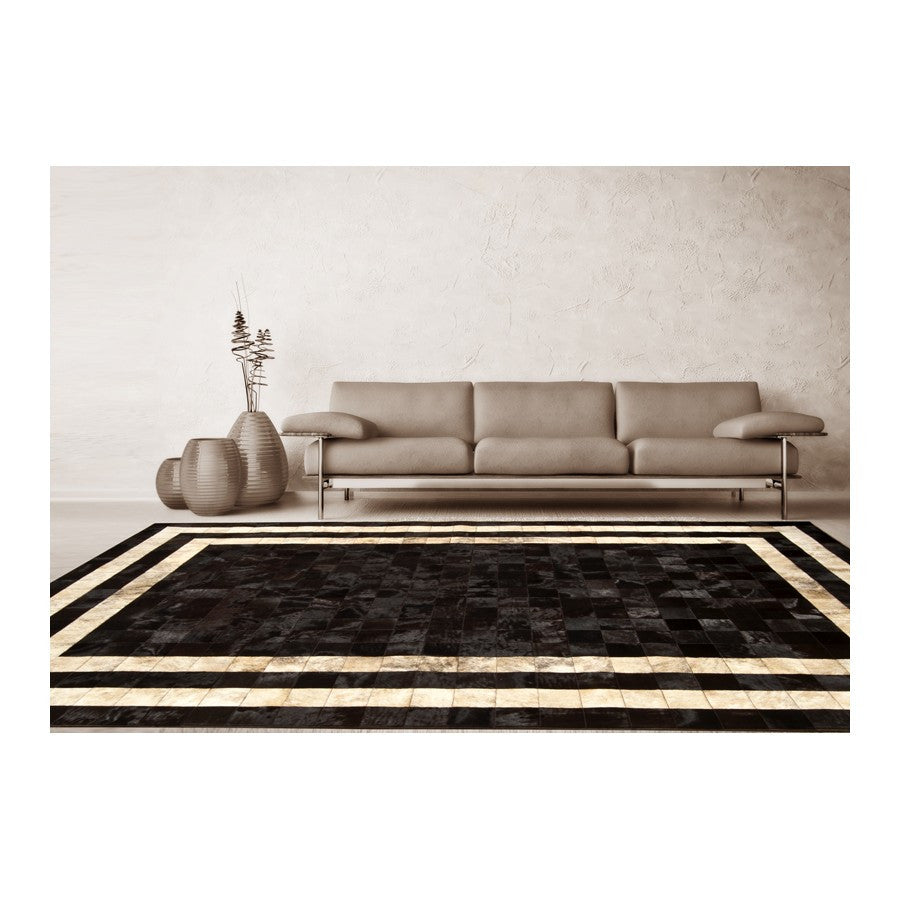 Patchwork Cowhide Rug K-1773 Mosaik Testa Di Moro Horsy Double Line - Light Beige